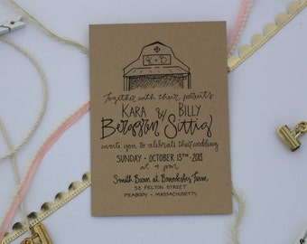 Rustic Wedding Invitation / Barn Farm