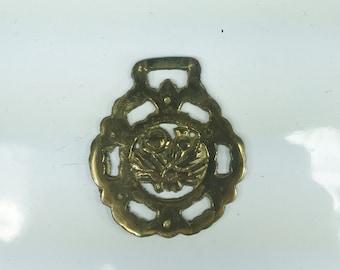 Vintage Floral Flower Brass Medallion