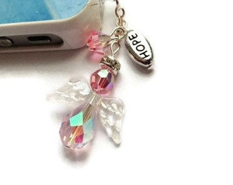 Swarovski Cell Charm, Angel Cell Charm, Pink Dust Plug, Inspirational Charm, Hope Charm