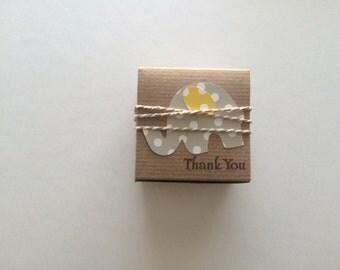 Elephant  Baby Shower -  gray elephant polka dot favor boxes  - elephant themed baby shower
