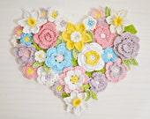 CROCHET PATTERN flower heart wall decor, wreath, 7 ornaments,spring, Valentine's, Easter, wedding, home decor, DIY photo tutorial