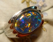 Mens Opal Ring Sterling Silver, Natural Opal Triplet. 14x10mm Oval . item 110045.