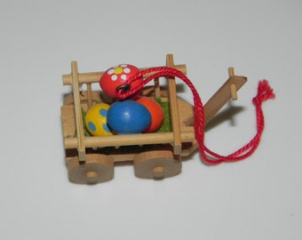 Handmade Wood Miniature Rabbit Easter Egg Cart Spring Ornament Christian Ulbricht Collectible Wood