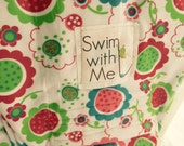 Swim with Me Bathing Suit Fabric Ring -Bright Floral- Sling - Water ring Sling  - Baby Sling - Baby Carrier - Baby Wrap - Ring Wrap - Waterp