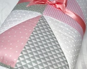 "Baby Play Mat Padded Blanket Pink Gray Girl Nursery Bedding Modern Patchwork Quilt Tummy Time Newborn Gift Baby Shower Nap Mat 40"" x 40"""