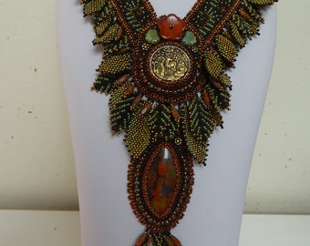 Ancient Forest, Antique Bronze Stag Forest Button, Morgan Hill Poppy Jasper, Original Fern Design, Bead Woven, Embroidered, Necklace