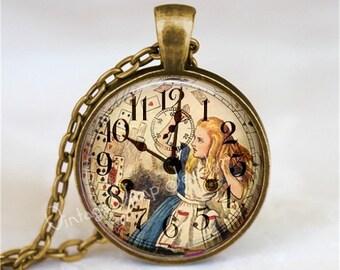 ALICE In WONDERLAND Necklace, Steampunk Necklace, Vintage Clock, Alice in Wonderland Jewelry, Fantasy, Glass Bezel Art Pendant Necklace