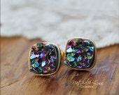 Square Druzy Earrings, Druzy Earrings, Faux Druzy Earrings, Stud Druzy Earrings, Druzy Jewelry, Gemstone Earrings, Gold Earrings