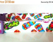 "Sale 50% Off Flip Flop Dog Collar - Summer Dog Collar - Multi-Colored Flip Flops on White ""Flip Flop"" - NO EXTRA Charge for colored buckles"