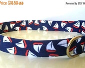 """Sale 50% Off Nautical White & Orange Sail Boats on Navy Fabric Dog Collar -""""Sailing"""" - NO EXTRA Charge for colored buckles"""