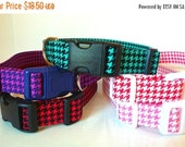 """Sale 50% Off Houndstooth Dog Collar-Red, Purple, Teal, Pink & Salmon  - """"Houndstooth"""" - NO Extra Charge for colored buckles"""