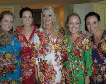 Set of 13 Floral Kimono Robe, Robe, Bridesmaid Robes, Bridesmaids gift, getting ready robes, Bridal shower favors, Bridesmaid
