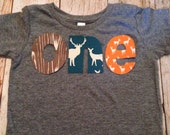 Birthday Shirt one shirt for boys 1st Birthday Shirt 1 year old wood deer elk buck tee pee wild and free animals forrest teal orange brown