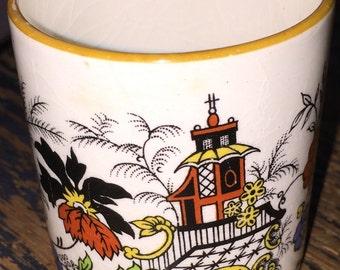 Sandland Ware Toothpick Holder or Vintage Match Holder or Demitasse Cup Pagoda and Floral Design
