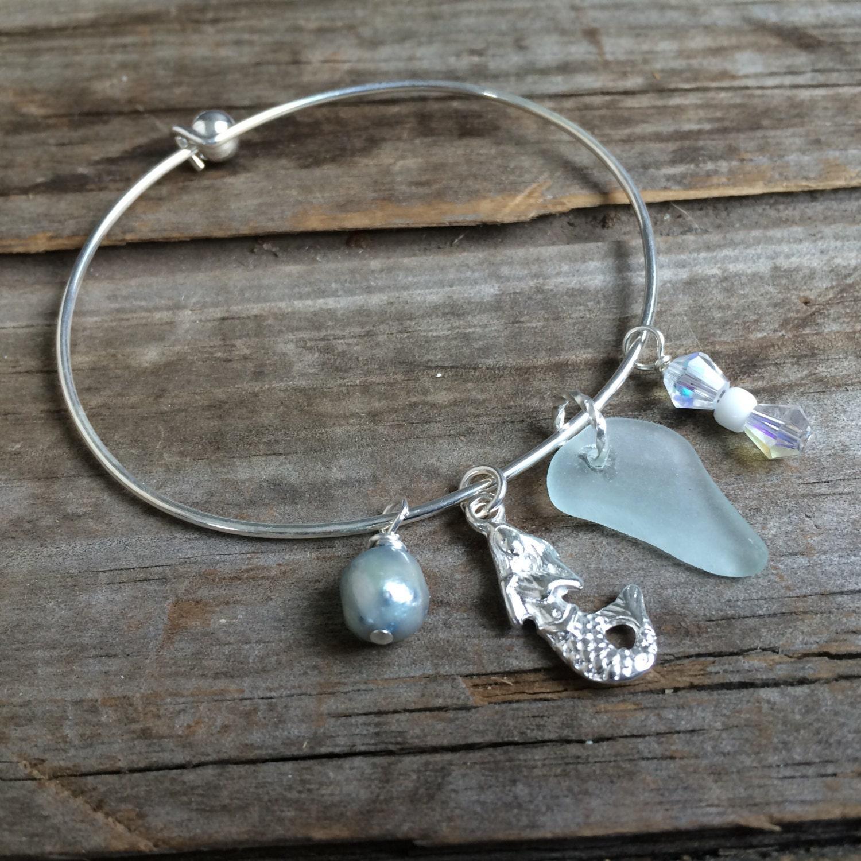 Sea Glass Bracelet Cape Cod Bracelet Genuine Pale Aqua Sea