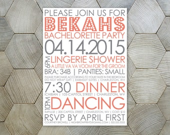 Typography Invite // Bachelorette Party
