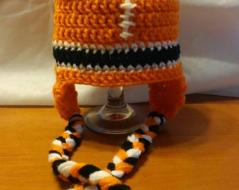 Boys Cincinnati Bengals inspired Earflap hat. 9mth to 12mth.