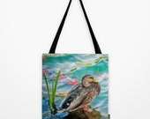 Tote Bag Duck Koi Water Pond