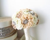 Reserved for Stephanie-------Bridal Fabric Brooch Bouquet /  Brooch Bouquet  The Floriana