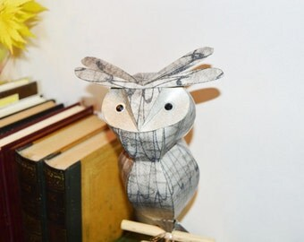 Grey Owl on wooden perch, handmade great horned owl paper sculpture
