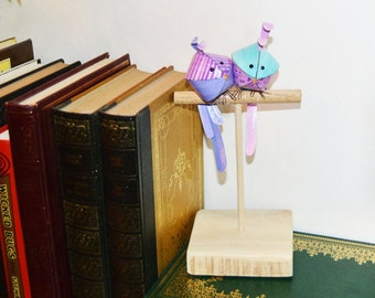 2 Love Birds on a birdstand, paper anniversary gift, pair of lovebirds ornament, bird sculpture