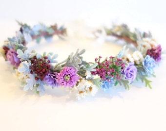 Flower Crown, Bridal Headpiece, Purple Wedding, Purple Flower Crown, Boho Wedding Headpiece, Bridal Crown, Bridal Head Wreath