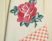 vintage pink rose tea towel no.1