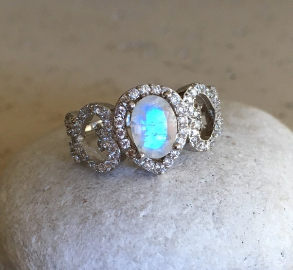 statement moonstone ring unique engagement ring wedding by