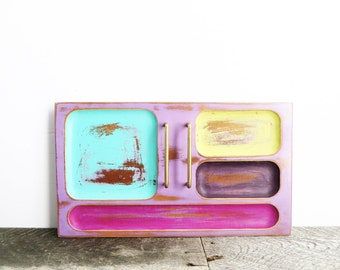 Jewelry Valet - Pretty Funky Bright - Divided Tray - Crazy Colorful Tray