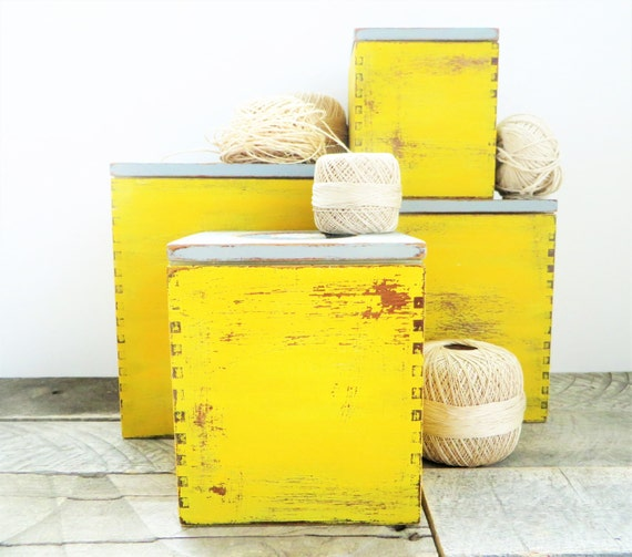 storage boxes mustard yellow grey modern by greenfoxstudio. Black Bedroom Furniture Sets. Home Design Ideas