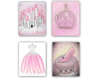 Nursery decor, Princess Wall Art, Cinderella, Slipper, Castle, Crown, Coach, Pink Nursery, baby decor, Nursery prints, Baby girl nursery