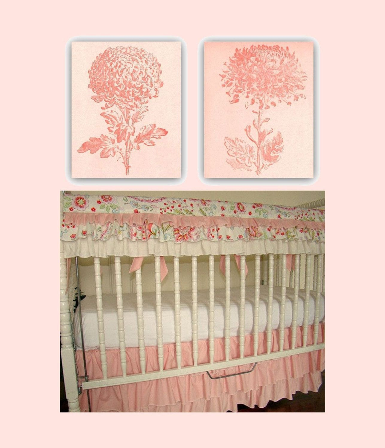 Baby girl nursery flowers wall art peach nursery decor for Room decor art