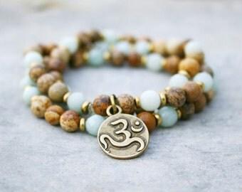 Beaded stretch bracelet, om bracelet, yoga jewelry, om bracelet, amazonite bracelet, om charm, om pendant, stretch bracelet