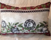 Large Fabric Christmas Pillow with Embellishments, Christmas Decoration, OFG, FAAP,  Country Christmas Pillow