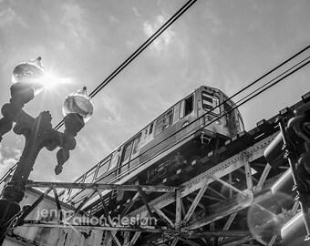 Chicago Photography, L Train Chicago, Subway Photo, Black & White Chicago Photo, Chitown Photo, Bridge Photo, City Photo Print Series