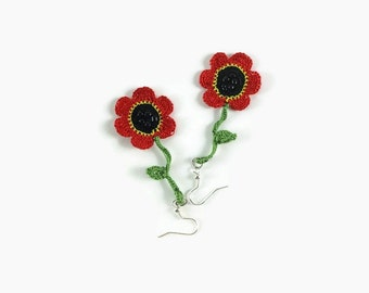 Red Flower Earrings, Dangle Earrings, Crochet Earrings, Crochet Jewelry, Fun Jewelry,  Boho Hippie Jewelry , Gift For Her, Summer Jewelry