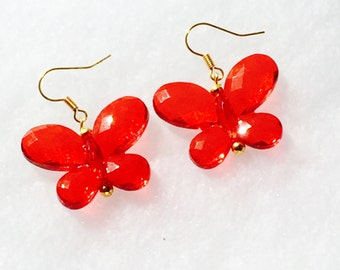 Red crystal butterfly earrings handmade jewelry Swarovski crystals NorthCoastCottage