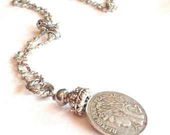 Silver coin necklace pendant