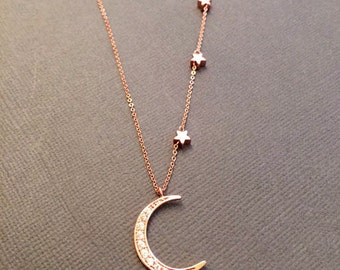 I love you to the moon and back, 14k Vermeil RoseGold crescent Moon necklace, Mother daughter jewelry, Mother child necklace, mother's day
