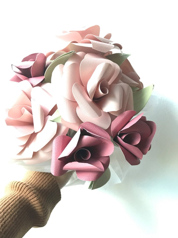 Paper flower bouquet, paper roses, pink paper flowers, pink rose color flowers, flower bouquet