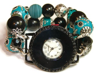 Black and Teal Chunky Beaded Watch - Interchangeable Watch - Apple Watch Band - BeadsnTime - Unique Watch - Bracelet Watch - Stretch Watch