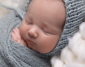 Newborn Blue Knit Bonnet