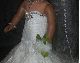 American Girl Doll  Ivory Lace Fit & Flair Bridal gown with accessories