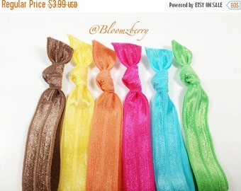 ON SALE 10% OFF New 6 pcs Elastic Hair Tie - Chocolate Brown, Yellow, Orange, Apple Green, Turquoise and Hot Pink - Toddler to Adult