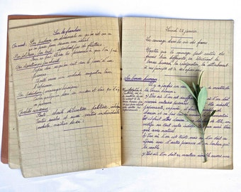 old french notebook dated 1938-1939