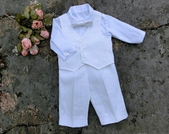 Baptism outfit. White christening suit, white linen baby boy suit. Baby boy blessing outfit, baby boy christening outfit, white baby suit
