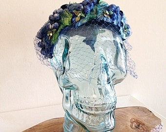 Lovely Vintage Blue and Green Velvet Casque Helmet Calot Juliet Hat with Netting Mid Century 1950s