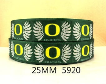 "7/8"" University of Oregon Ducks Ribbon-5 yards"