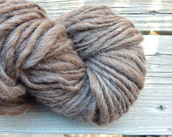 Hand spun Alpaca yarn - naturally brown thick and thin yarn - bulky weight - super soft - 127 yards, 8.9 oz.