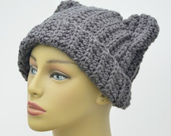 Adult cat hat, Gray winter hat, Gray cat hat,  Gift for her , Gift under 20 , Ready to ship , Crochet adult hat, Gift for her, Under 20